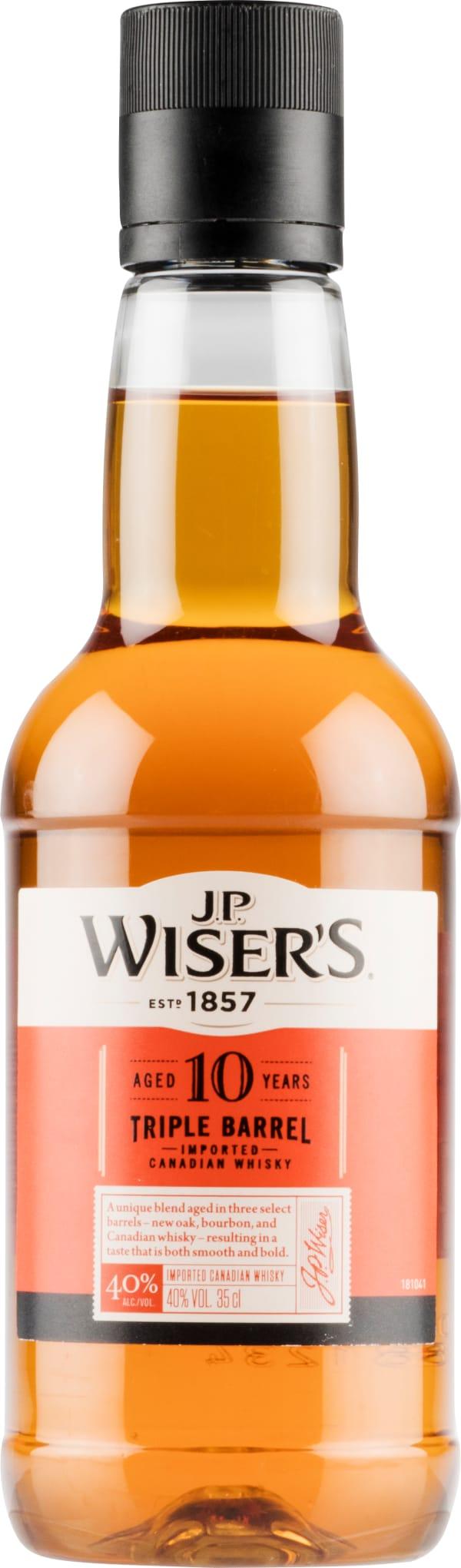 J.P. Wisers 10 Year Old Triple Barrel plastic bottle