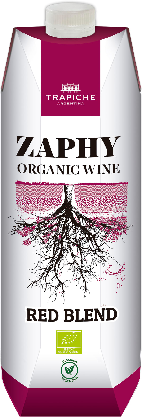 Trapiche Zaphy Organic red blend 2017 carton package