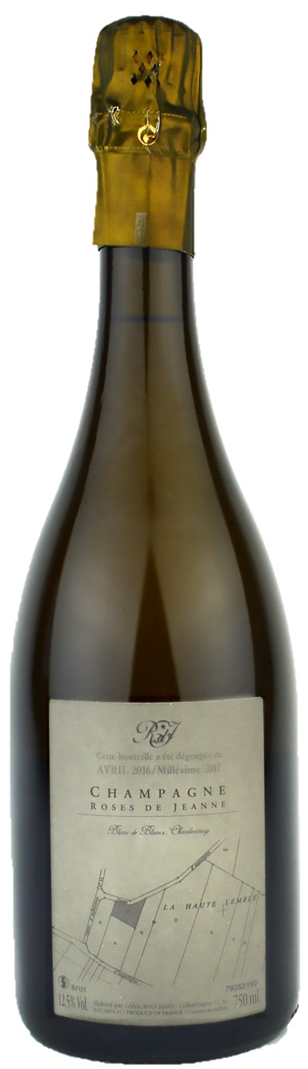 Roses de Jeanne La Haute Lemblè Blanc de Blancs Champagne Brut 2012