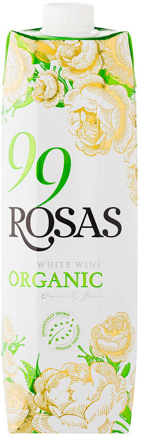 99 Rosas Organic White Wine 2018 kartongförpackning
