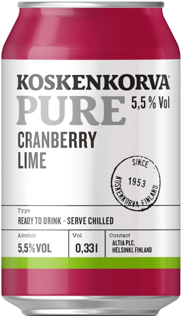 Koskenkorva Pure Cranberry Lime can