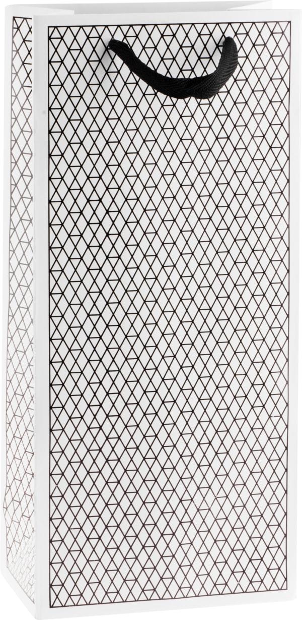 Presentpåse Net för två flaskor, svart/vit