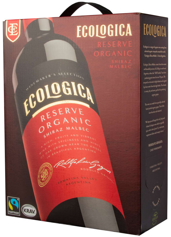 Ecologica Organic Shiraz Malbec Reserve 2018 bag-in-box