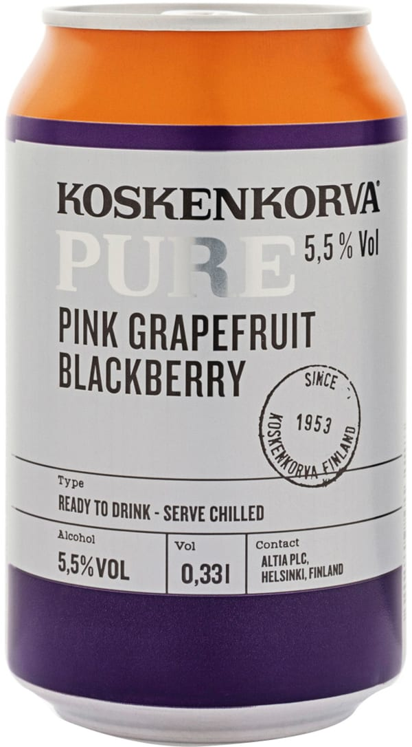 Koskenkorva Pure Pink Grapefruit Blackberry can