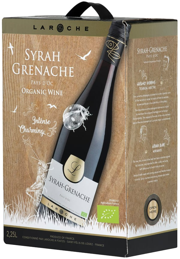 Laroche Syrah Grenache Organic L 2017 bag-in-box