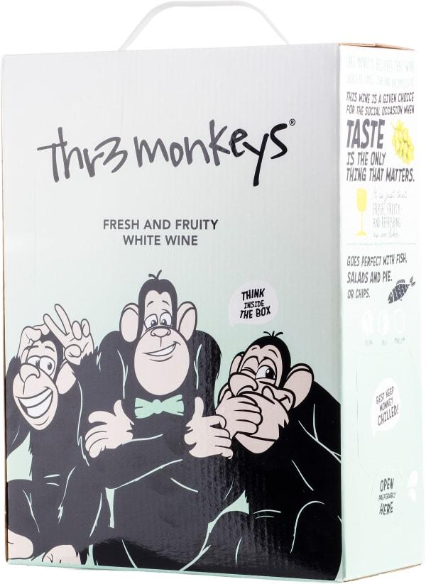 Thr3 Monkeys Fresh & Fruity White Wine hanapakkaus