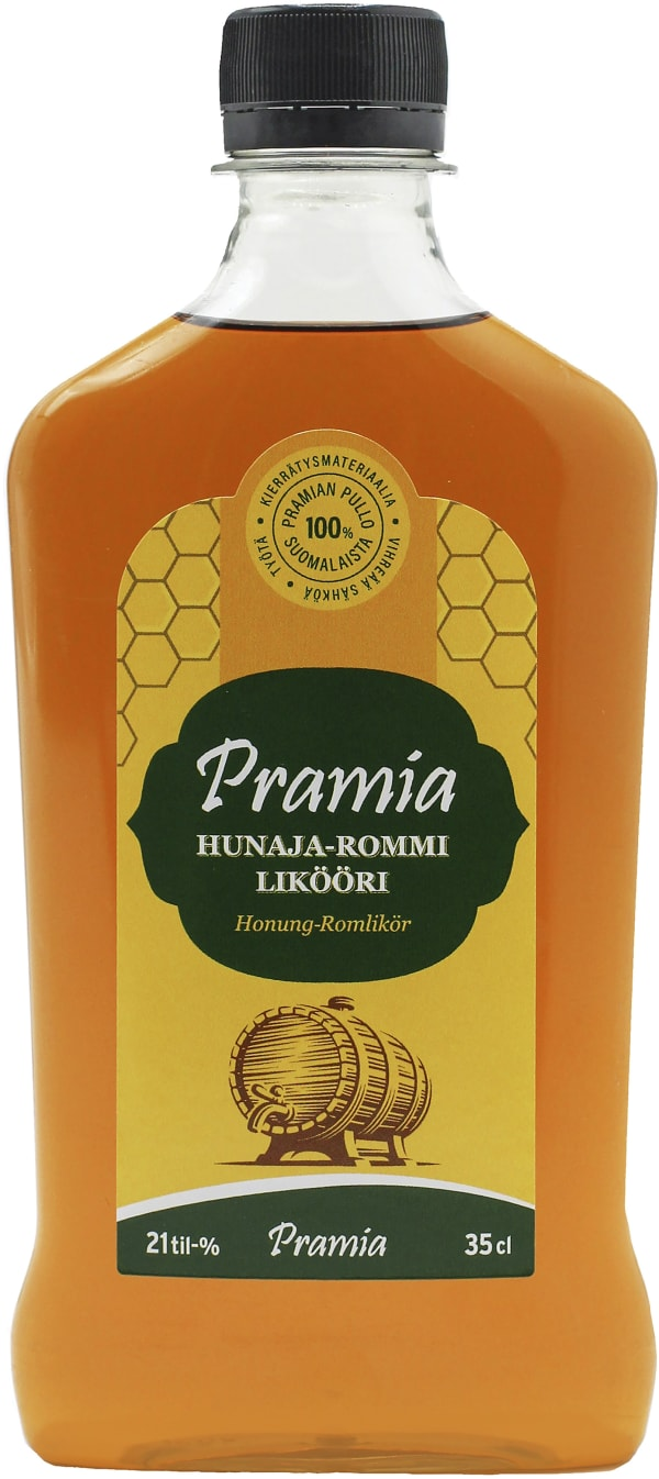 Pramia Hunaja-Rommilikööri plastic bottle