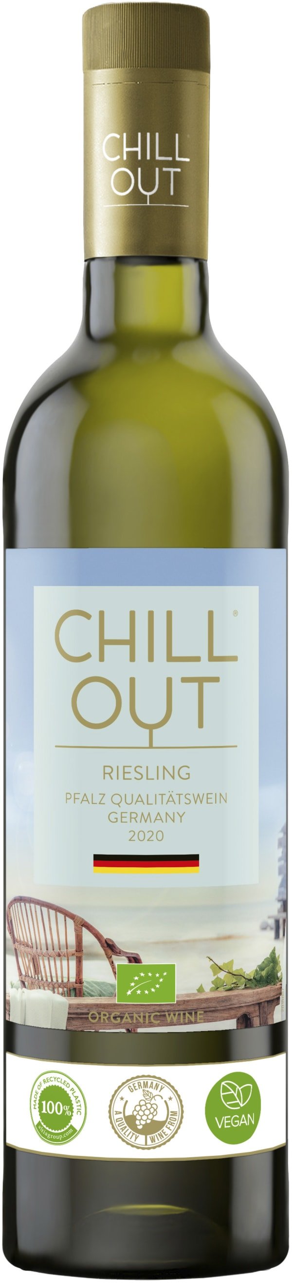 Chill Out Crisp & Fruity Riesling Organic 2016 plastic bottle